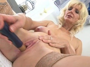 Sexy blonde mother playing with her wet pussy