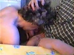 62 years old Russian granny seduces my drunk friend in the kitchen