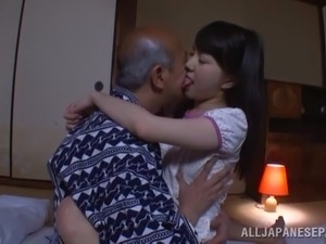 Petite Marin Aono gets fucked and creampied by old dude