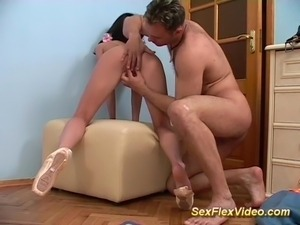 Hot flexible sex with a cute young skinny ballerina Teen