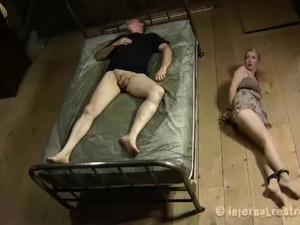 Skinny bondage slave giving huge dick superb blowjob in BDSM porn