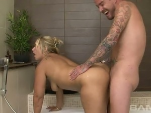 Blond haired spoiled housewife Pamela London fucks with her hubby in bathroom