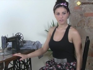 Lovely Mia massages her well manicured feet with a sewing machine