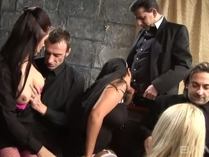 Mega busty spoiled sweetie Jasmine Black takes part in hard orgy party that...
