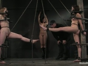 Three sizzling chicks enjoy being chained in a loathsome basement
