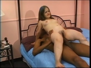 Hottie in action with black cock