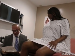 Busty pregnant black woman feels horny for interracial threesome with doctors