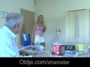 Young maid mouth full of cumshot after fucking boss old dick