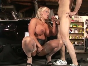 Well stacked blond milf Alura Jenson gets her muff fucked in doggy pose
