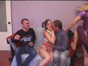 Lewd milf in sexy lingerie being humped hardcore in an old vs young foursome