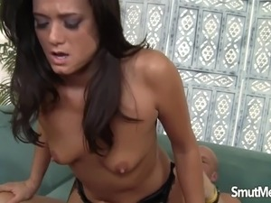 Hot brunette MILF fuck and cum in mouth