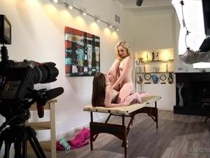 Beautiful girls with perky tits talk about massage sex