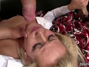 Office bitch takes rough deep throat banging