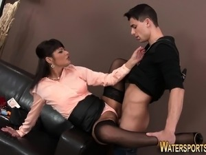 Clothed slut pees on face