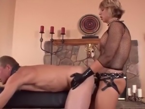 Blonde Mistress Strap on Fuck Her slave Hard
