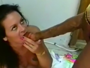 Black young man with a unreal gigantic dick feeds busty babe