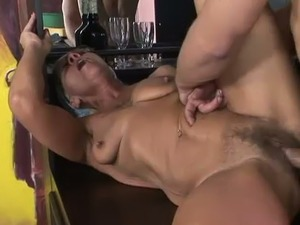 Dirty old mature whore with ugly tits gets her meaty cunt fucked missionary