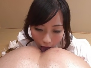 Uncensored JAV wife Manami Komukai CFNM rimjob massage in HD