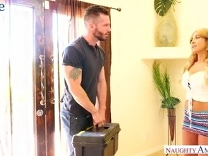 Generous neighbor gets repaid for his help with a steamy blowjob by Kayla Kayden