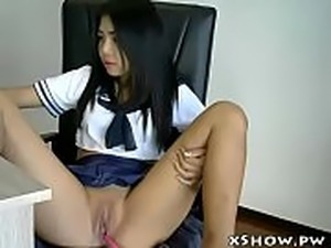 Hot Japanese Babe Orgasming on Cam - Find more on http://xShow.pw