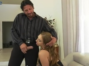 Useless humiliated man has to watch the way busty bitch gets fucked