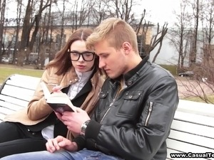 Nerdy college girl gets fucked hard by another student