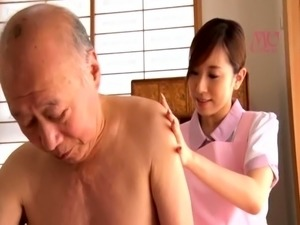 Buxom Japanese babe has a horny old man plowing her snatch