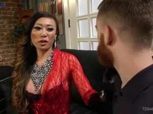 Stunning Asian transsexual whore Venus Lux makes dude groan during anal