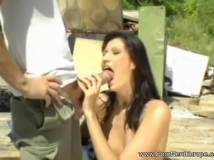 Czech Brunette Fucked Outdoors