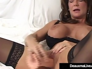 Busty Cougar Deauxma Squirts Her Pussy Juice Masturbating!