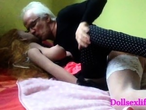 Old man making love to a doll because it is that good