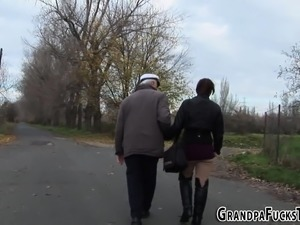 Busty teen fucks grandpa