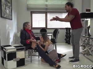 Interracial anal sex in front of an old man