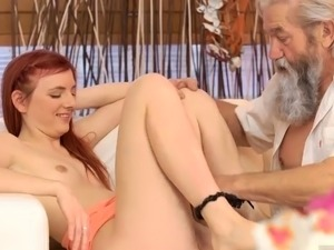 Red head fucks old man Unexpected experience with an older g