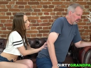 Young masseuse takes care of a grandpa