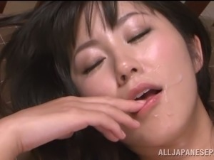 Smoking hot babe gives her Japanese pussy to a Japanese man