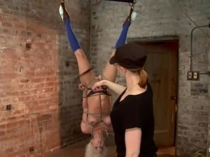 Upside down suspension and breast bondage for Cherry Torn