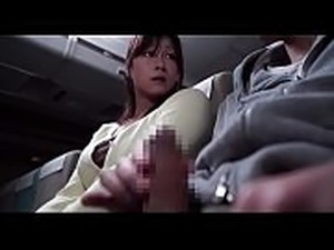 Asian Milf have no choice to help neighbour passenger blowjob on flight -...